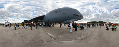 A USAF Boeing B-52 Stratofortress was one of the main attractions of the 10th NATO Days in Ostrava, Czech Republic.  Click to view this panorama in new fullscreen window