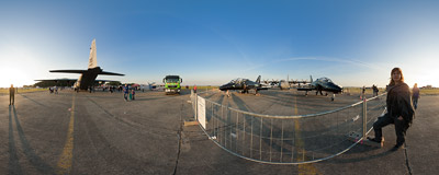 Two RAF Hawks T Mk 1 on the static display during the 11th NATO Days in Ostrava, Czech Republic.  Click to view this panorama in new fullscreen window