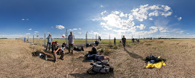 Polish spotters at the fence of the Ostrava Airport during the 12th NATO Days.  Click to view this panorama in new fullscreen window
