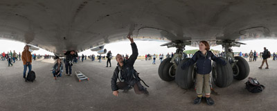Under the fuselage of the An-124 Ruslan aircraft, the main attraction of the NATO Days 2013.  Click to view this panorama in new fullscreen window