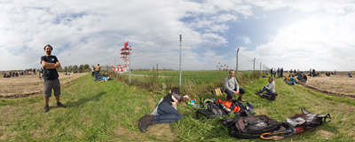 Among a bunch of spotters at the fence of the Ostrava Airport during the 14th NATO Days.  Click to view this panorama in new fullscreen window