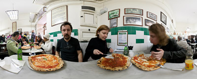Pizzas for lunch in L'Antica Pizzeria da Michele of Julia Roberts fame in Naples, Italy.  Click to view this panorama in new fullscreen window