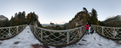 Spanning the Pöllat Gorge the Marienbrücke footbridge gives you one of the best views of the famous Neuschwanstein Castle near Füssen, Germany.  Click to view this panorama in new fullscreen window