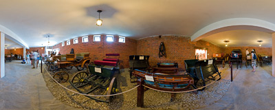 Old carriages exhibition, a part of the Niedzica castle museum.  Click to view this panorama in new fullscreen window