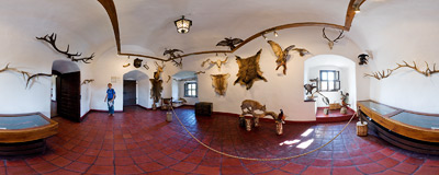In the Hunting Room in the Niedzica castle.  Click to view this panorama in new fullscreen window