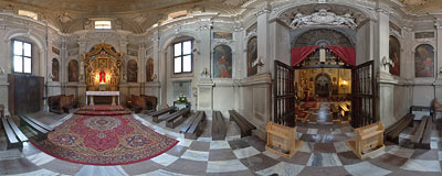 17th century chapel of St. Charles Borromeo, funded by Lubomirski family in a church in Niepołomice near Kraków in 1640.  Click to view this panorama in new fullscreen window