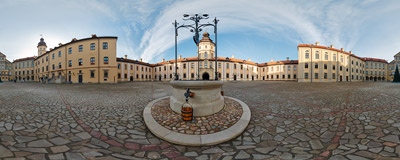 The renovated Radziwiłł Castle in Nesvizh, Belarus.  Click to view this panorama in new fullscreen window