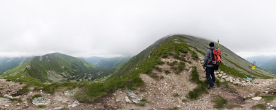 On the western ridge of Jarząbczy Wierch in the Tatra Mountains.  Click to view this panorama in new fullscreen window