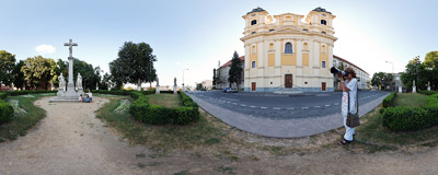 In front of the Piarist church of St. Ladislaus in the Lower Town part of Nitra, Slovakia.  Click to view this panorama in new fullscreen window