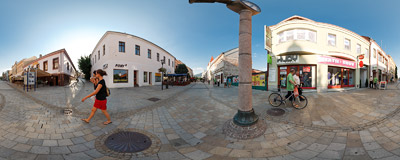Štefánikova trieda, the main avenue of the pedestrian zone of Nitra, Slovakia.  Click to view this panorama in new fullscreen window