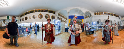 Members of the Kraków Marksmen Guild are presenting their trophies during the 2009 Night of Museums.  Click to view this panorama in new fullscreen window