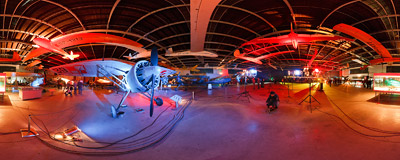 International Night of Museums 2009 in the Polish Aviation Museum.  Click to view this panorama in new fullscreen window