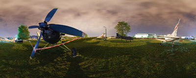 International Night of Museums 2009 in the open-air part of the Polish Aviation Museum.  Click to view this panorama in new fullscreen window