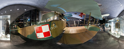 The Albatros B.II biplane, displayed during the 2011 International Night of Museums in the new building of the Polish Aviation Museum in Kraków.  Click to view this panorama in new fullscreen window