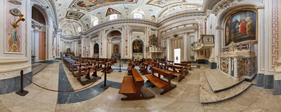 Inside the neoclassical church of Santissimo Salvatore in the Baroque town of Noto, Sicily.  Click to view this panorama in new fullscreen window
