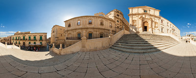 On the stairs leading to the church of San Francesco d'Assisi all'Immacolata in the Baroque town of Noto, Sicily.  Click to view this panorama in new fullscreen window