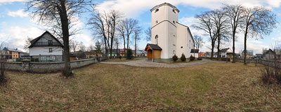 St. Catherine's church in Nowa Biała.  Click to view this panorama in new fullscreen window