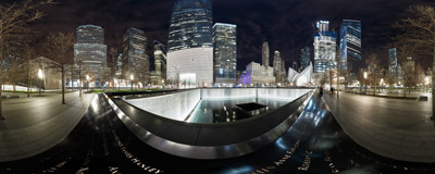 Two square pools commemorate the victims of the terrorist attacks at the World Trade Center in New York City.  Click to view this panorama in new fullscreen window