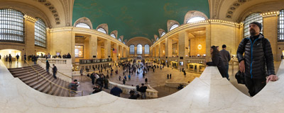 The Main Concourse of the famous Grand Central Terminal in New York City.  Click to view this panorama in new fullscreen window