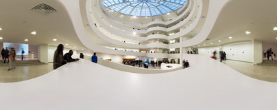 Inside the famous Solomon R. Guggenheim Museum at 5th Avenue, New York City.  Click to view this panorama in new fullscreen window