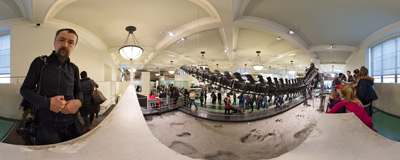 One of many dinosaur exhibitions in the American Museum of Natural History in New York City.  Click to view this panorama in new fullscreen window