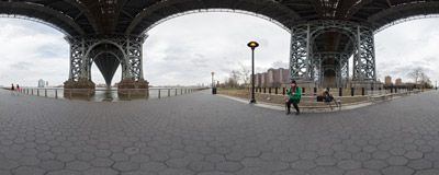 The East River Promenade under the Williamsburg Bridge in New York City.  Click to view this panorama in new fullscreen window