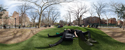 Relaxing on the plastic grass in the Washington Square Park in New York City.  Click to view this panorama in new fullscreen window