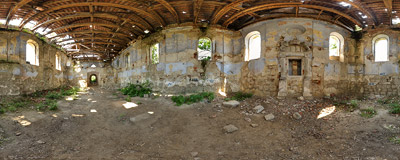 Inside the ruined synagogue in Nowy Korczyn.  Click to view this panorama in new fullscreen window