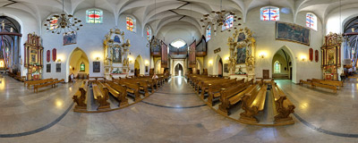 Inside the basilica of St. Margaret in Nowy Sącz.  Click to view this panorama in new fullscreen window