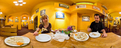 In the Ratuszowa Restaurant in the Town Hall in Nowy Sącz.  Click to view this panorama in new fullscreen window