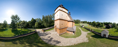 Nowy Sącz open-air museum - this 18th century wooden church of St. Paul and St. Peter was transferred here from a village of Łososina Dolna in 2003.  Click to view this panorama in new fullscreen window