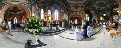 Asia and Paweł are getting married in the church of St. Casimir in Nowy Sącz.  Click to view this panorama in new fullscreen window