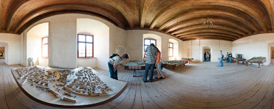 Models of different Polish castles in Nowy Wiśnicz.  Click to view this panorama in new fullscreen window