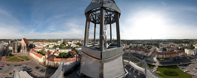 The view from the modern town hall tower in Nysa.  Click to view this panorama in new fullscreen window