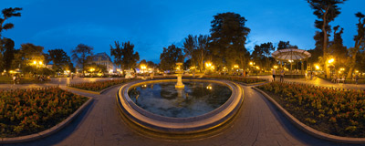 An evening in the nice City Garden of Odessa, Ukraine.  Click to view this panorama in new fullscreen window