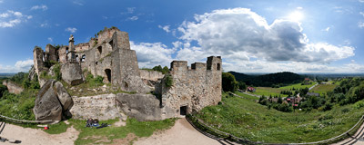 The ruins of the Odrzykoń Castle.  Click to view this panorama in new fullscreen window