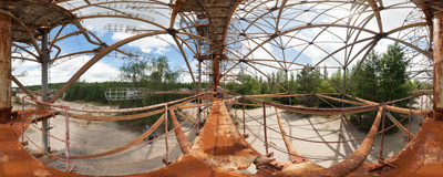 Russian Woodpecker - a giant abandoned radar antenna near Chernobyl, Ukraine.  Click to view this panorama in new fullscreen window