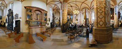 In the northern nave of the Church of St. Andrew the Apostle in Olkusz.  Click to view this panorama in new fullscreen window