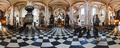 Inside the Gothic basilica of St. Andrew the Apostle in Olkusz.  Click to view this panorama in new fullscreen window