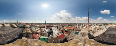 A panorama of Olomouc, Czech Republic, from the top of the tower of St. Maurice's church.  Click to view this panorama in new fullscreen window