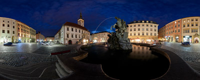 The Caesar's Fountain (Caesarova kašna) on the Main Square of Olomouc, Czech Republic.  Click to view this panorama in new fullscreen window