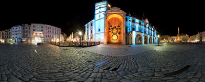 The Main Square of Olomouc with the colourfully lit Town Hall and the only socialist-realistic astronomical clock in the world.  Click to view this panorama in new fullscreen window