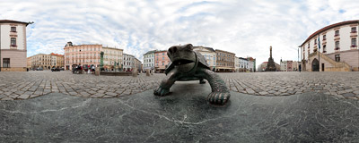 A turtle near the Arion's fountain (2002) on the Main Square of Olomouc, Czech Republic.  Click to view this panorama in new fullscreen window