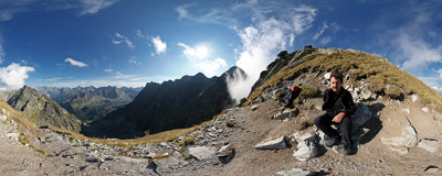 Orla Perć: just below the summit of Orla Baszta (2177 m).  Click to view this panorama in new fullscreen window