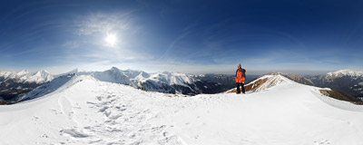 The summit of Ornak (1854 m) in the Tatra Mountains.  Click to view this panorama in new fullscreen window