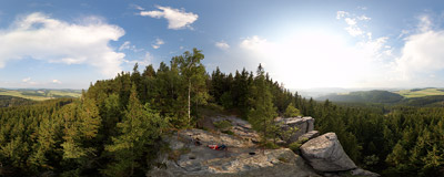 Ostaš - Friedland Rock.  Click to view this panorama in new fullscreen window
