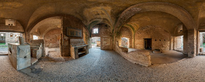 Inside the ancient bar found in the Ostia Antica archeological site.  Click to view this panorama in new fullscreen window