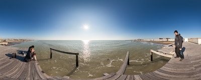 An absolutely out-of-season beach in Ostia, the seaside district of Rome.  Click to view this panorama in new fullscreen window
