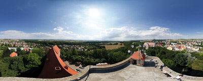 The view from the castle tower in Otmuchów.  Click to view this panorama in new fullscreen window