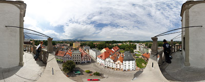The view of Paczków from the town hall tower.  Click to view this panorama in new fullscreen window